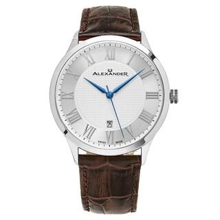 Alexander Men's Swiss Made Triumph Brown Leather Strap Watch