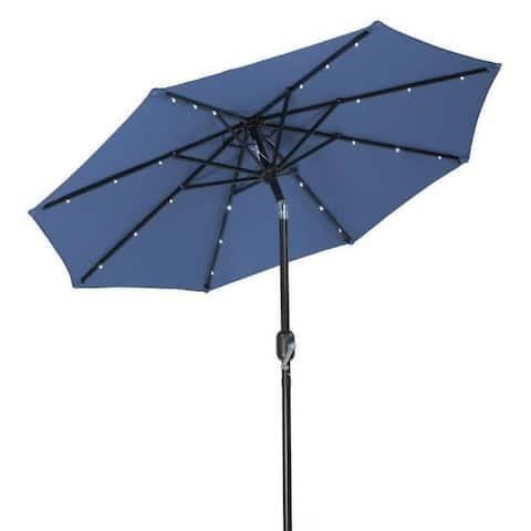 Trademark Innovations Polyester 7-foot Solar LED Patio Umbrella
