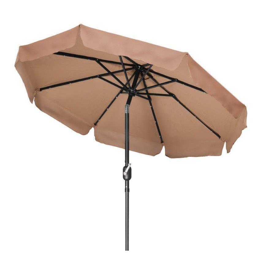 Tan 7 Solar Led Patio Umbrella By