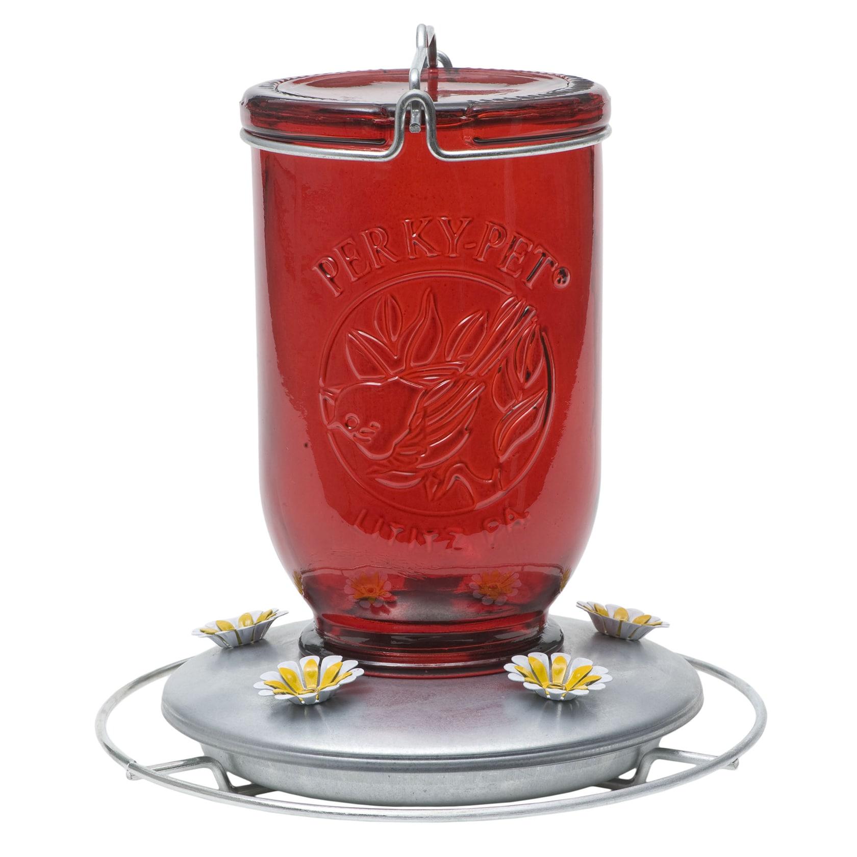 Perky-Pet 32 Oz Red Glass Mason Jar Hummingbird Feeder (R...