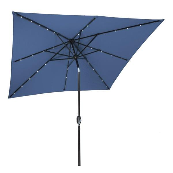 Red 8 With Scalloped Edge Top Deluxe Solar Powered LED Lighted Patio Umbrella by Trademark Innovations