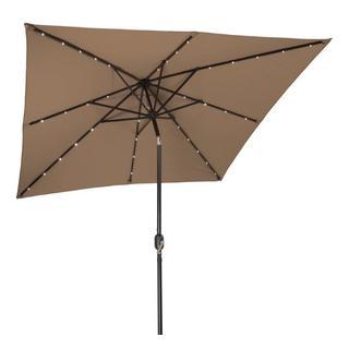 Trademark Innovations Solid Polyester/Steel Solar-powered 8-foot Patio Umbrella