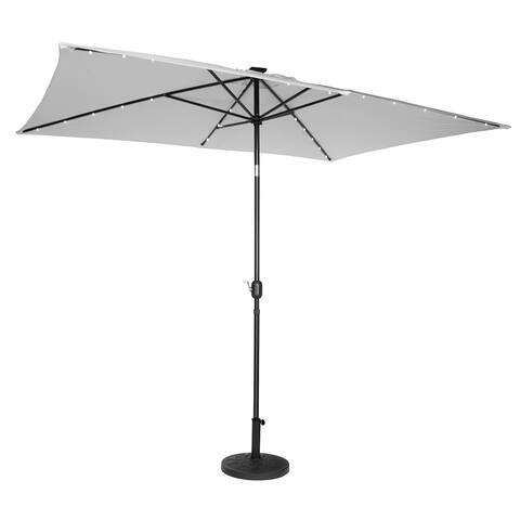 Trademark Innovations Grey Polyester Steel 10-inch Rectangular Solar Powered LED Lighted Patio Umbrella