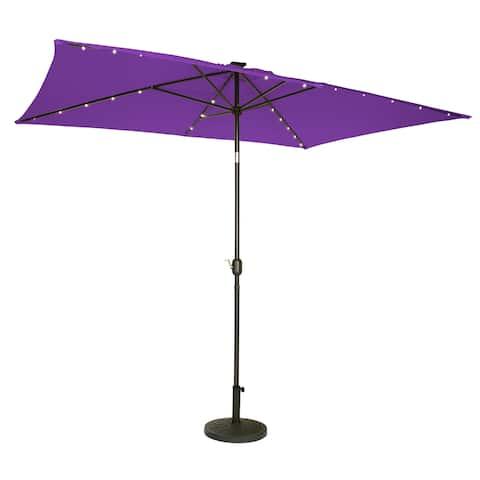 Trademark Innovations Purple Polyester 10x6.5 Deluxe Solar-powered LED-lit Patio Umbrella