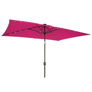 Trademark Innovations Pink Steel and Polyester Solar-powered Patio Umbrella
