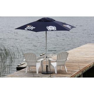 DestinationGear Navy Polyester Aluminum 8.5-foot Miller Lite Logo Umbrella