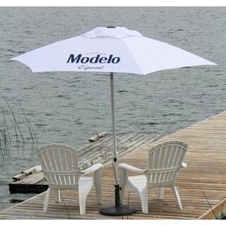 Modelo Especial White Polyester 8.5-foot Push-up Licensed Market Patio Umbrella