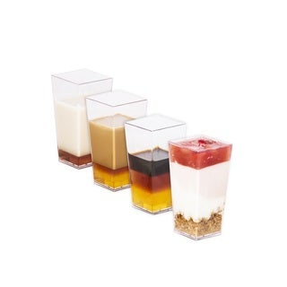Elegant 3 oz Tall Square Dessert Cups made from Durable Crystal Clear Plastic (50 Count) - Appetizer-Souffle