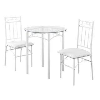 3-piece White Metal Dining Set