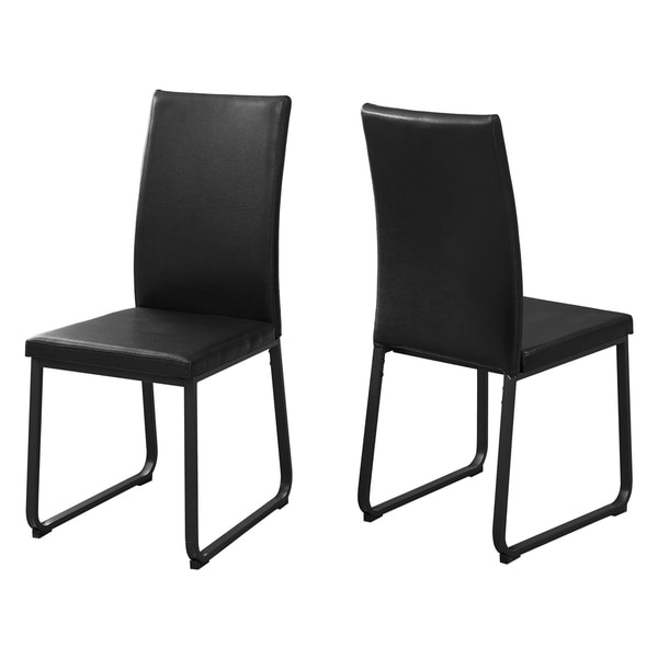 Shop Black Faux-leather/Metal Contemporary Dining Chairs ...