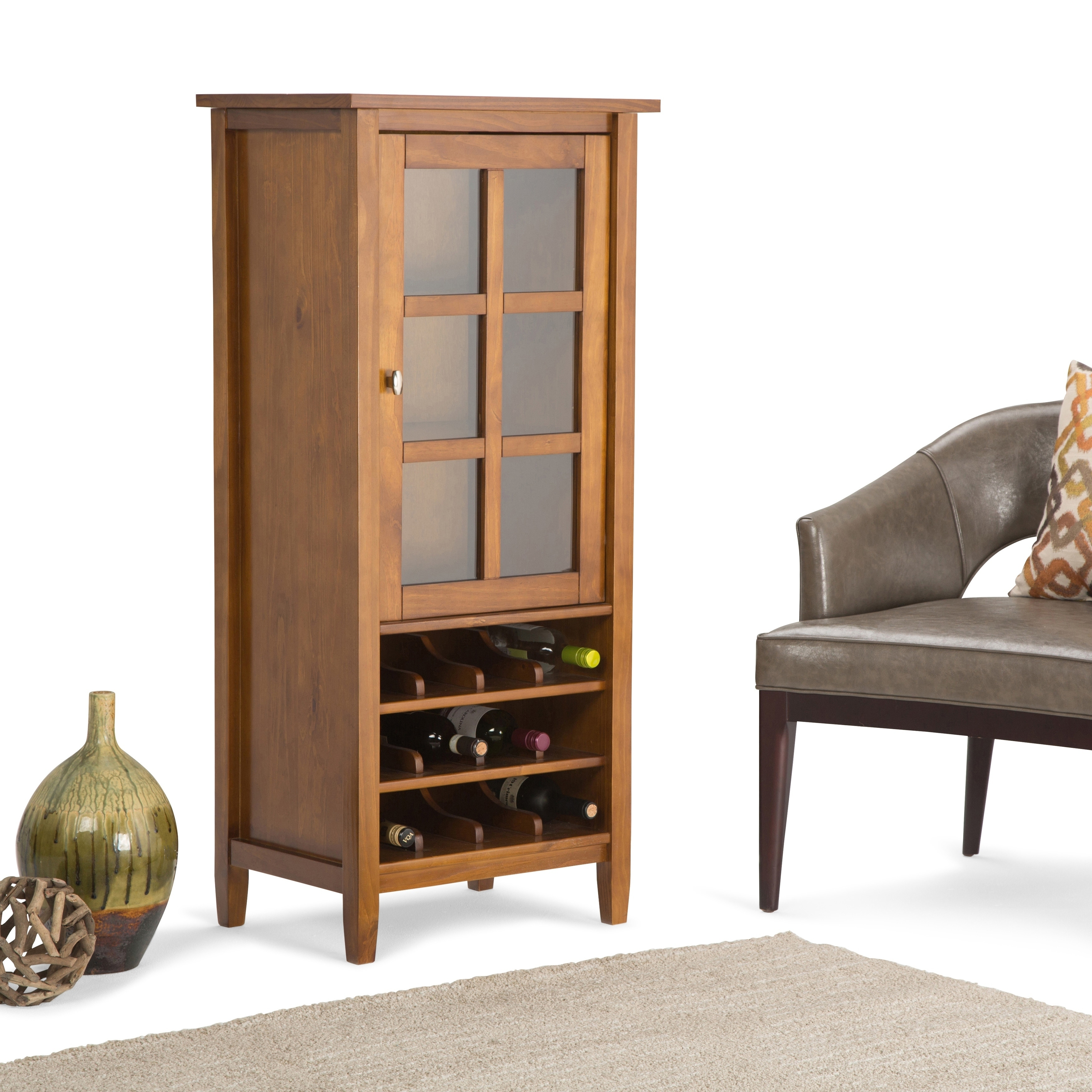 Wyndenhall Norfolk 12 Bottle Solid Wood 23 Inch Wide Rustic High Storage Wine Rack