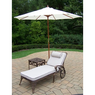 Dakota Cast Aluminum White Umbrella Lounge Set