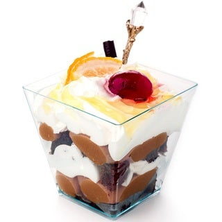 Elegant 2 oz Square mini Dessert cups made from Durable Crystal Clear Plastic-Parfait-Appetizer