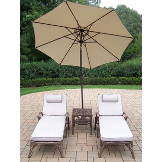 Dakota 5-piece Cast Aluminum Chaise Lounge and Umbrella Outdoor Lounge Set