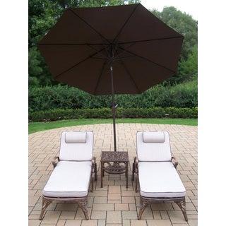 Dakota Cast Aluminum Lounge Set with Umbrella