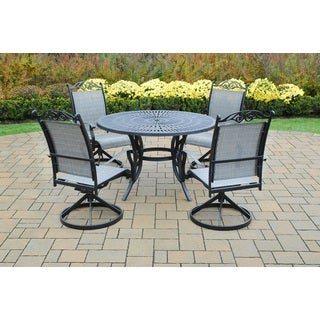 Radiance 5-piece Black Aluminum Table and Sling Swivel Rocker Dining Set