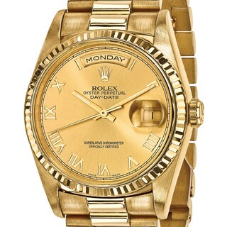 Certified Pre-Owned Rolex Men's 18 Karat Yellow Gold Day-Date Presidential Watch (Option: Gold)