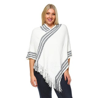 White Mark Women's Nevaeh Acrylic Plus Size Poncho