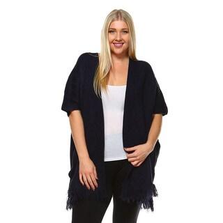 White Mark Women's Plus Size Long Cardigan