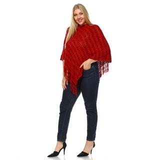 Women's Red/Grey Jersey Knit Cardigan Plus Size Nixie Poncho