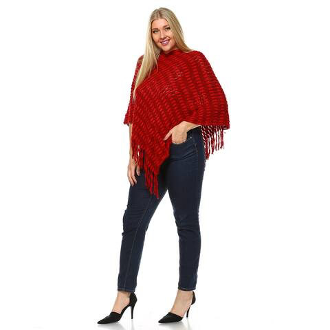 Women's Red/Grey Jersey Knit Cardigan Plus Size Nixie Poncho