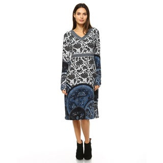 White Mark Women's Naarah Embroidered Sweater Dress
