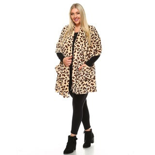 White Mark Women's Animal-print Plus-size Shawl
