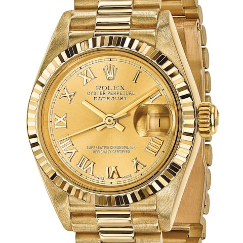 Quality Pre-Owned Rolex Women's 18 Karat Yellow Gold Datejust Presidential Watch