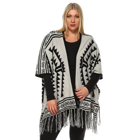 White Mark Women's Aztec Printed Jersey-knit Plus-size Poncho