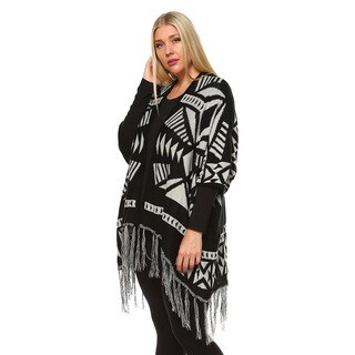 White Mark Women's Plus-size Black Jersey Knit Printed Aztec Poncho