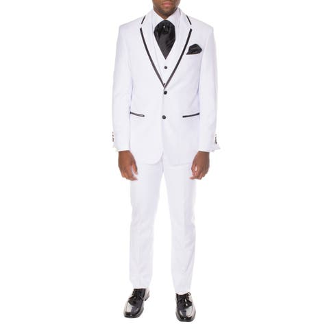 Ferrecci Men's Premium White Polyester Vested Slim-fit 3-piece Tuxedo
