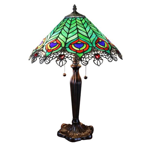 Kamen Tiffany-style Peacock Lamp