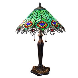 Kamen Tiffany-style Peacock Lamp