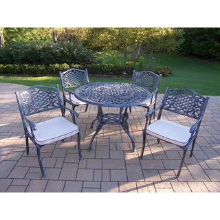 Camellia Cast Aluminum Dining Set with Round Table and 4 Oatmeal Cushioned Dining Chairs in Verdi Grey