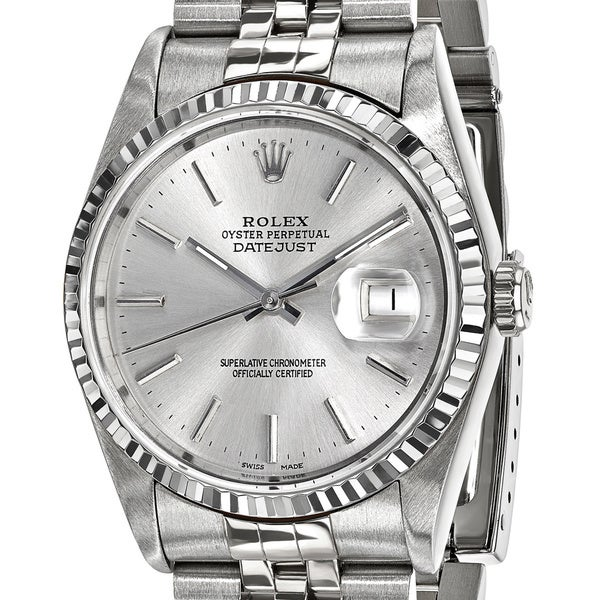 Certified Pre-Owned Rolex Men's Steel and 18 Karat White Gold Bezel, Silver Dial Watch