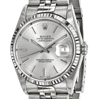 Certified Pre-Owned Rolex Men's Steel and 18 Karat White Gold Bezel, Silver Dial Watch (Option: Gold)