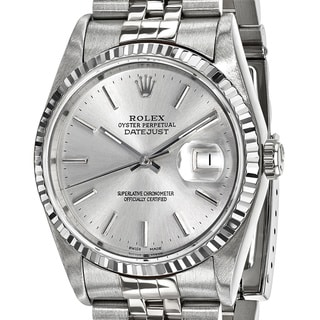 Link to Quality Pre-Owned Rolex Men's Steel and 18 Karat White Gold Bezel, Silver Dial Watch Similar Items in Men's Watches