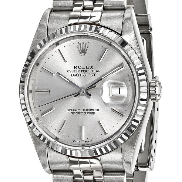 Quality Pre-Owned Rolex Men's Steel and 18 Karat White Gold Bezel, Silver Dial Watch