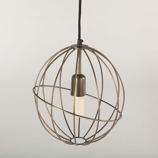 Nikola Antique Brass Metal Round Pendant Light Fixture