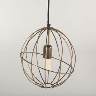 Nikola Antique Brass Metal Round Pendant Light Fixture