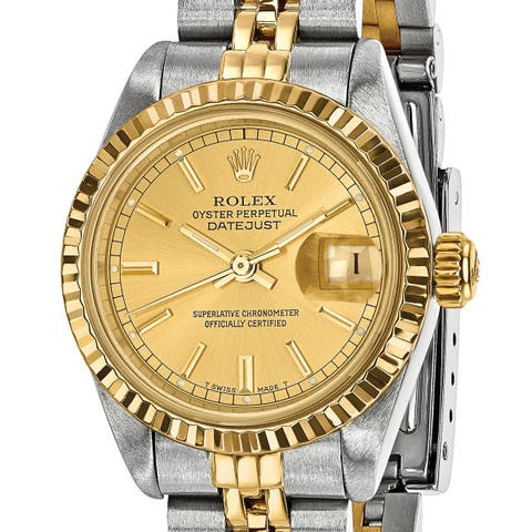 Quality Pre-Owned Rolex Women's Steel and 18 Karat Yellow Gold Champagne Dial Watch