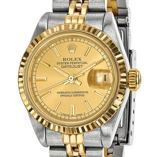 Certified Pre-owned Rolex Steel and 18 Karat Yellow Gold Ladies Champagne Dial Watch