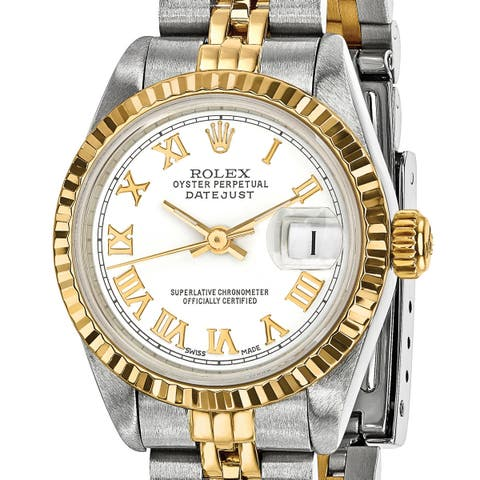 Quality Pre-owned Rolex Steel and 18 Karat Yellow Gold Ladies White Dial Watch