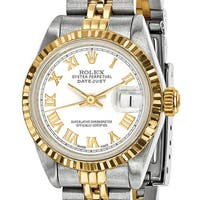 Certified Pre-owned Rolex Steel and 18 Karat Yellow Gold Ladies White Dial Watch