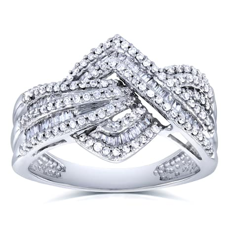 Annello by Kobelli 10k White Gold 1/2ct TDW Diamond Overlapping Zigzags Anniversary Ring