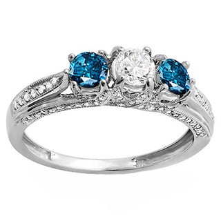 14k White Gold 1ct TW Round White and Blue Diamond Vintage Bridal 3-stone Engagement Ring (H-I, I1-I2)