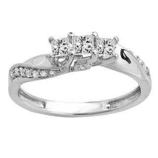 14k Gold 1/2ct TDW Princess and Round Diamond 3-stone Swirl Engagement Bridal Ring