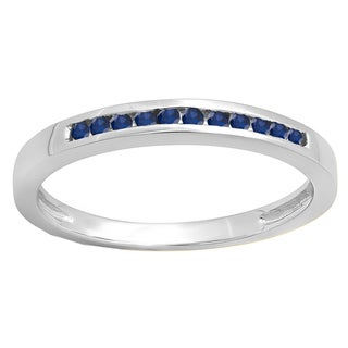 10k Gold 1/6ct TW Round Blue Sapphire Wedding Band Stackable Ring