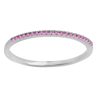 10k Gold 1/10ct TW Round Pink Sapphire Anniversary Wedding Stackable Band