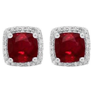 10k Gold 2 3/4ct TW Cushion-cut Ruby and White Diamond Square Frame Halo Stud Earrings (I-J, I1-I2)